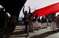 Thousands of Houthi supporters staged a demonstration rejecting the sanctions and an arms embargo imposed by the UN Security Council on Houthi Group and their allies, as well as demanding the Houthis withdraw from all areas they have recently seized