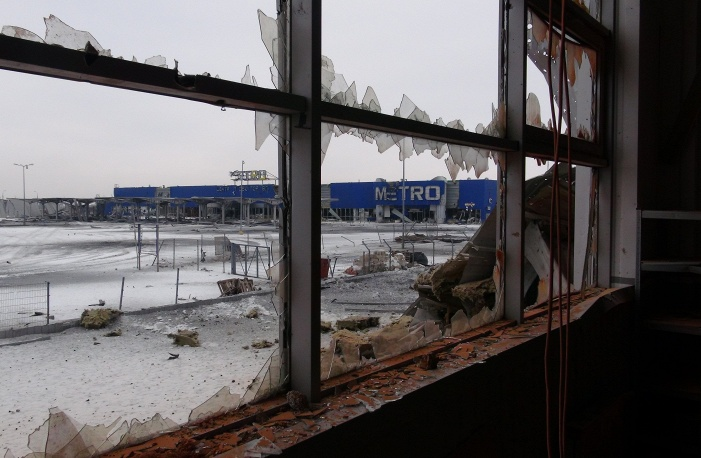 Photo: Damage inside a branch of the Metro chain of supermarkets near the Donetsk airport
